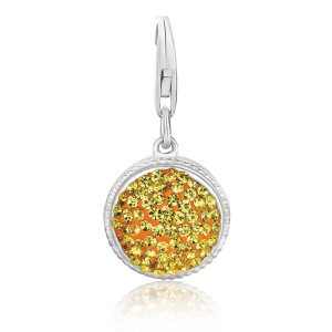 Sterling Silver Round Charm with Citrine Tone Crystal Accents