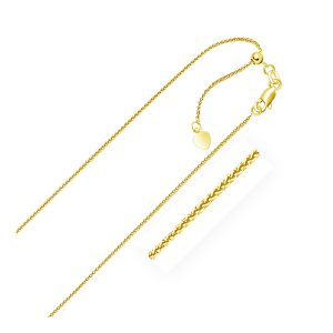 1.0mm 14K Yellow Gold Adjustable Wheat Chain