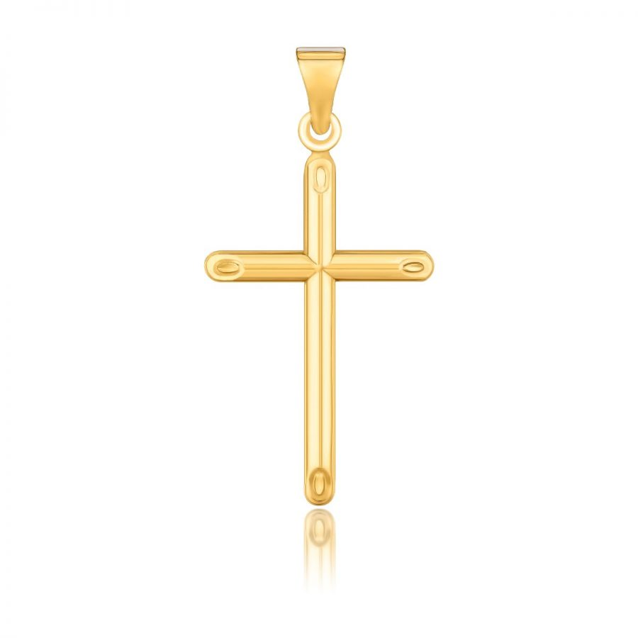 14K Yellow Gold Slim Cross Pendant with Slanted Ends