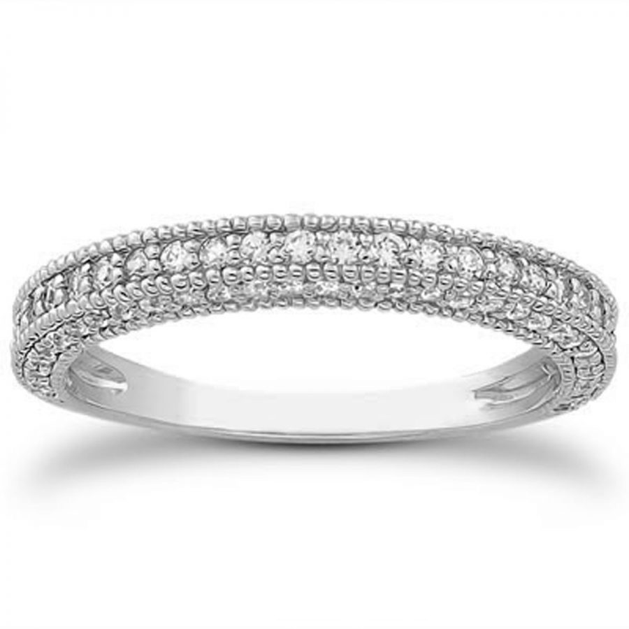 14K White Gold Fancy Pave Diamond Milgrain Textured Wedding Ring Band