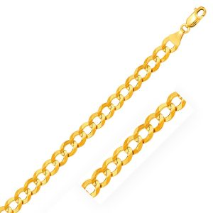 8.2mm 14K Yellow Gold Solid Curb Chain