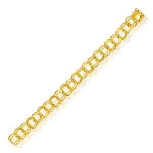 10.0 mm 14K Yellow Gold Solid Double Link Charm Bracelet