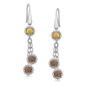 18K Yellow Gold and Sterling Silver Smokey Quartz Lariat Style Dangle Earrings