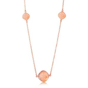 Sterling Silver Rose Gold Plated Station Raspberry Rutilated Quartz Necklace