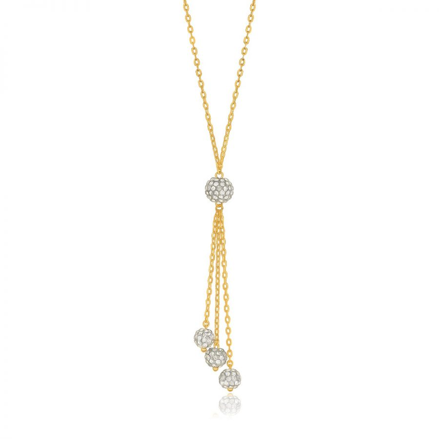 14K Yellow Gold 17'' Necklace with Triple Ball Drop Pendant