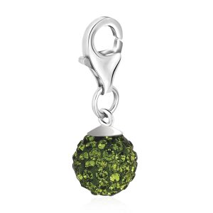 Sterling Silver August Birthstone Round Charm with Green Hue Crystal Accents