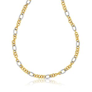 14K Two-Tone Round and Cable Style Link Necklace