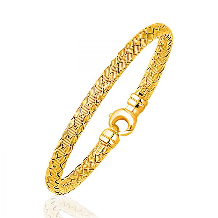 Fancy Weave Bangle in 14K Yellow Gold (5.0mm)