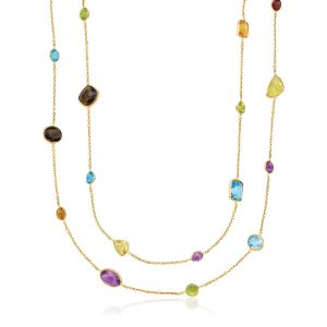 14K Yellow Gold Double Layer Multi Gem Necklace