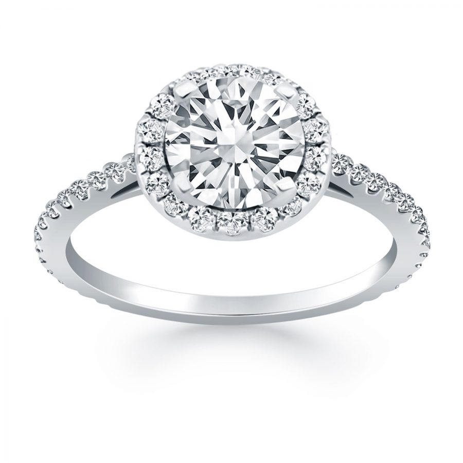 14K White Gold Diamond Halo Cathedral Engagement