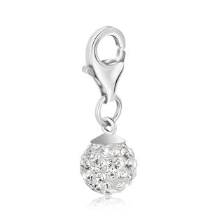 Sterling Silver White Tone Crystal Studded April Birthstone Round Charm