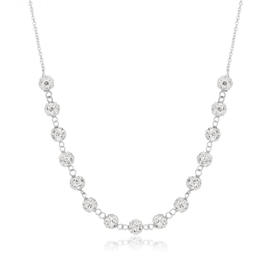 14K White Gold Crystal Accent Ball Chain Necklace