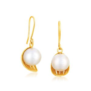 Italian Design 14K Yellow Gold Filament Cup Earrings with Cultured Pearl