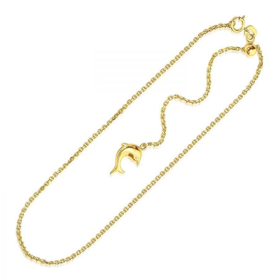 14K Yellow Gold Dolphin Accent Cable Link Adjustable Anklet
