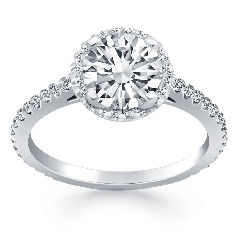 14K White Gold Diamond Halo Cathedral Engagement Ring with Accent Diamonds