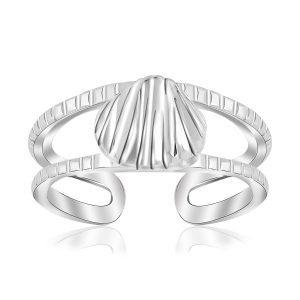 Sterling Silver Rhodium Plated Shell Design Open Toe Ring