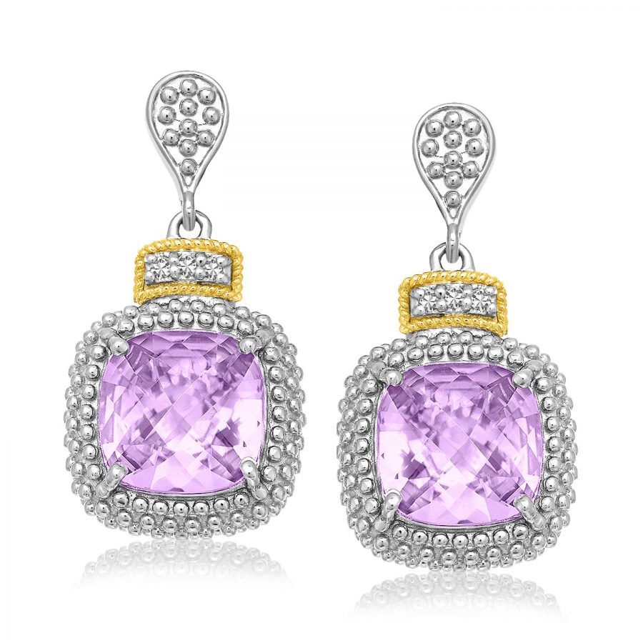 18K Yellow Gold & Sterling Silver Cushion Amethyst & Diamond Earrings (.05ct tw)