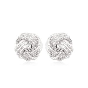 14K White Gold Love Knot with Ridge Texture Earrings