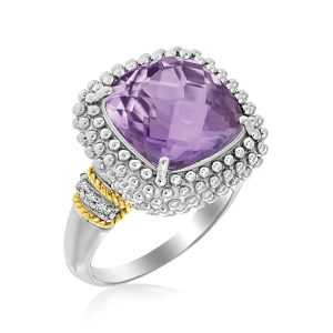 18K Yellow Gold & Sterling Silver Popcorn Ring with Amethyst and Diamond Accents