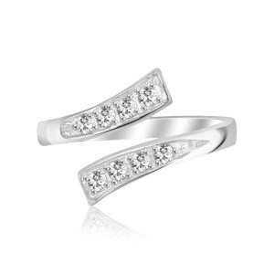 Sterling Silver Rhodium Plated Toe Ring with White Cubic Zirconia Accents