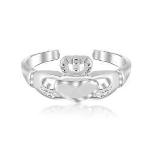 Sterling Silver Rhodium Finished Open Toe Ring with a Claddagh Design