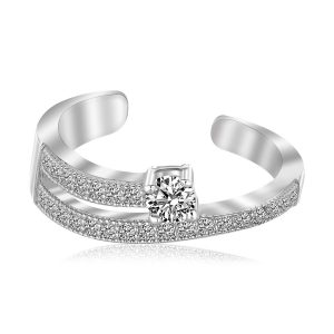 Sterling Silver Rhodium Finished White Cubic Zirconia Open Toe Ring