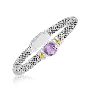 18K Yellow Gold & Rhodium Sterling Silver Popcorn Bangle with Cushion Amethyst