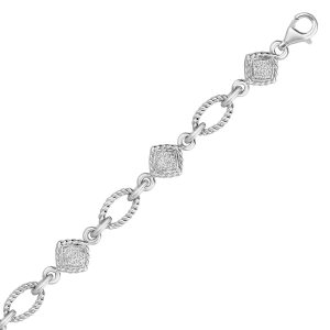 Sterling Silver Cable Oval and Square Link Bracelet with Diamonds (1/4 ct t.w.)
