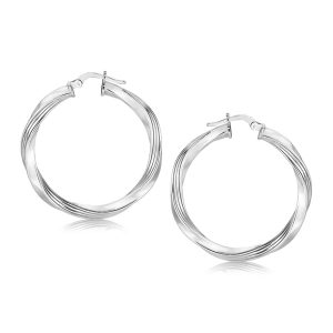 Sterling Silver Spiral Polished Large Hoop Earrings