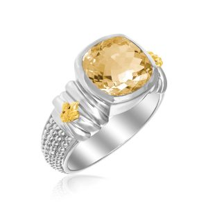 18K Yellow Gold & Sterling Silver Fleur De Lis Ring with Cushion Citrine Accent