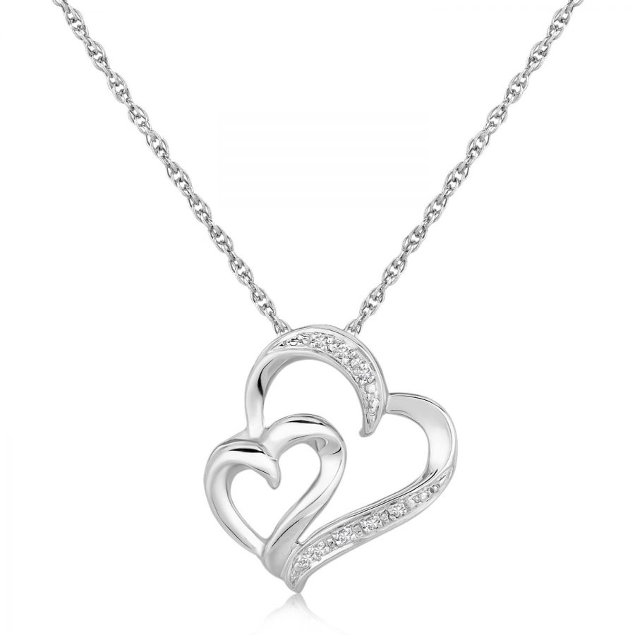 Sterling Silver Diamond Accented Dual Fancy Heart Pendant (.02 ct t.w.)