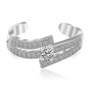 Sterling Silver Rhodium Plated White Cubic Zirconia Studded Dual Line Toe Ring