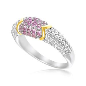 18K Yellow Gold & Sterling Silver Pink Sapphire Accented Popcorn Ring