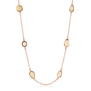 Sterling Silver Rose Gold Plated Necklace with Smokey Quartz Geometric Stations