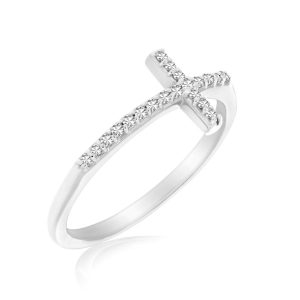14K White Gold Cross Motif Ring with Diamond Accents (.11ct tw)