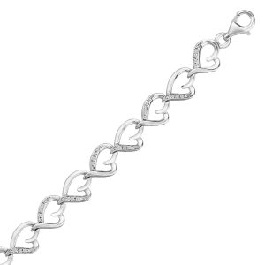 Sterling Silver Diamond Embellished Heart Link Bracelet (.15 ct t.w.)