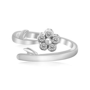 Sterling Silver Rhodium Plated Floral White Cubic Zirconia Accented Toe Ring