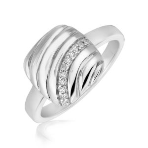 Sterling Silver Square Diamond Accented Wave Motif Rhodium Plated Ring