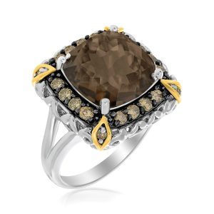 18K Yellow Gold & Sterling Silver Fancy Brown Diamond and Smokey Quartz Ring