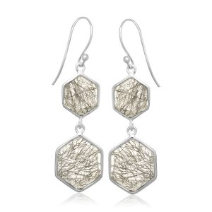 Sterling Silver Rutilated Quartz Hexagon Style Dangling Earrings