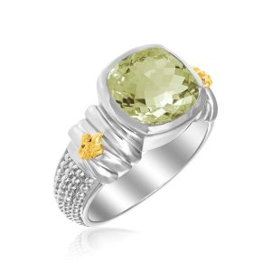 18K Yellow Gold & Sterling Silver Green Amethyst Popcorn Fleur De Lis Ring