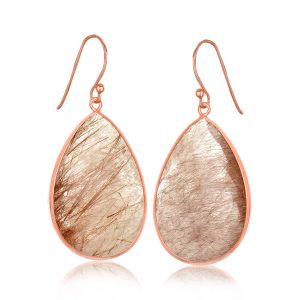 Sterling Silver Rose Gold Plated Teardrop Raspberry Rutilated Quartz Earrings