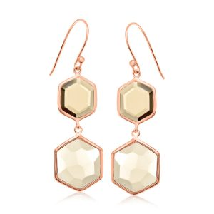 Sterling Silver Rose Gold Plated Dangling Hexagon Smokey Quartz Earrings
