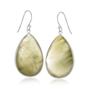 Sterling Silver Teardrop Emerald Green Rutilated Quartz Drop Earrings