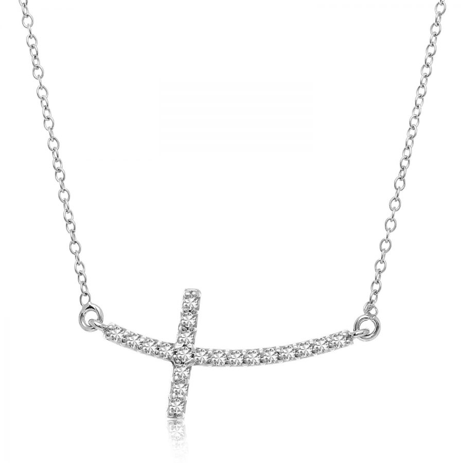 14K White Gold Diamond Embellished Cross Motif Necklace (.21ct tw)