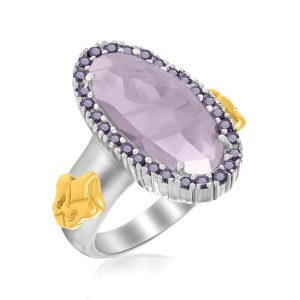 18K Yellow Gold & Sterling Silver Oval Amethyst Fleur De Lis Ring