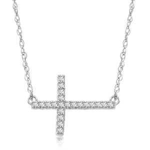14K White Gold Slender Diamond Cross Necklace (.06ct tw)