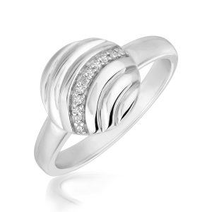 Sterling Silver Round Wave Motif Diamond Embellished Rhodium Plated Ring