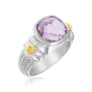 18K Yellow Gold & Sterling Silver Popcorn Ring with Cushion Amethyst Accent