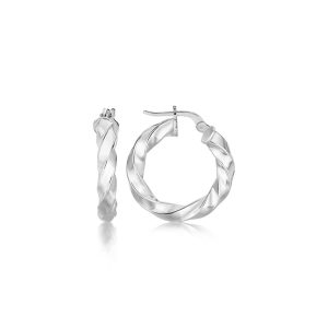 Sterling Silver Polished Fancy Twist Style Hoop Earrings